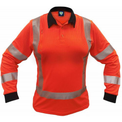 Caution MicroVent TTMC-W17 X-Back Womens L/S Polo