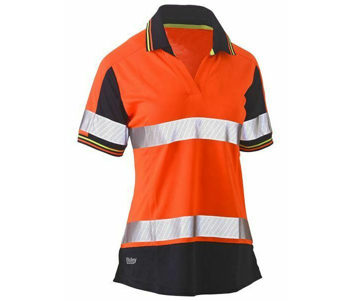 Bisley Womens Taped Two Tone Hi Vis V-Neck Polo S/S