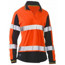 Bisley Womens Taped Two Tone Hi Vis V-Neck Polo L/S