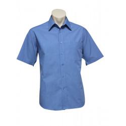 Biz Micro Check Mens Short Sleeve Shirt