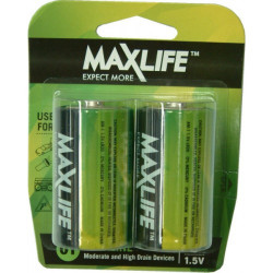 Max-Life Alkaline Batteries D 2pk Batteries