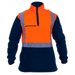 Caution 1/2 Zip Day/Night Fleece Top-Fluro Orange/Navy