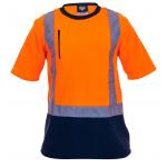 Caution Day/Night Fleece T-Shirt-Fluro Orange/Navy