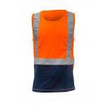 Caution Day/Night Microfibre Singlet-Fluro Orange/Navy